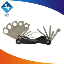 Supply of high quality 17 function folding hexagonal repair bike tools, durable bicycle tool set