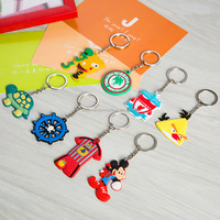 Wholesale Custom 3D Fashion key Chain Rings, Promotional Low price PVC Plastic Key Ring Chains