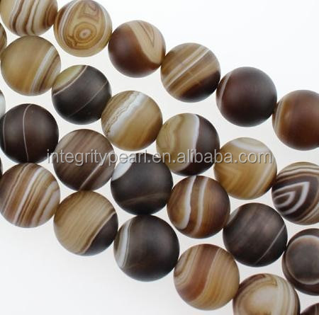 8mm Madagascar natural matte striped natural brown agate loose beads