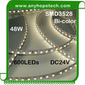 Bottom price new products two color 120leds per 5m 48W smd flexible strip led light