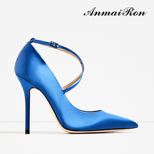elegant fashion ladies women satin pencil high heel shoes