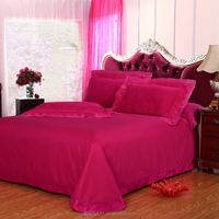 Tribute satin bedding set cheap home textile bed sheets,super cosy and confortable comforter set lace 4pcs bed sheet set BSS15