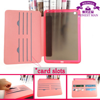 Flower design leather wallet tablet cover for ipad 2 3 4 clear TPU protective case for ipad wholesale