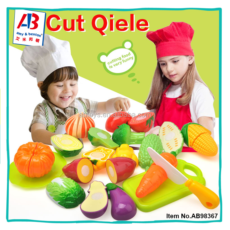 Funny Pretend Play Plastic Cutting Food Toys Vegetable Fruit For Kids