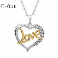 Best Couple Heart and Love Two Tone Micro Paved 925 Silver Pendant Fashion Jewelry for Valentine Gift