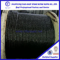 Hot sale 6x7+FC Galvanzied steel wire rope for sea water with asphalt oil black oil