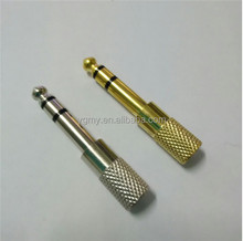 "6.5mm 1/4"" Male to 1/8"" 3.5mm Jack Stereo Microphon Adapter Male to Female Gold"