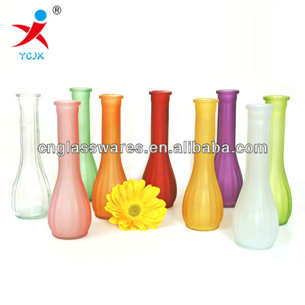 small colored frost glass flower vase arrangement for sale /glassware vases