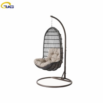 Good quality outdoor metal frame rattan swing chair with cushion