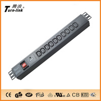 1.5U 10 ways iec c13 pdu socket with surge protector and switch