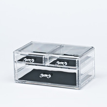 2 tiers with 3 drawers clear acrylic cosmetic organizers