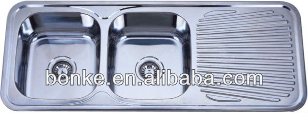 Double Bowl Industrial Stainless Steel Sink With Drainboard For Kitchen
