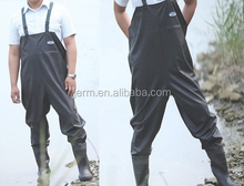 Black waterproof PVC chest wader