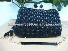 Latest Korea fashion wrinkle shoulder bags &handbags with chain strap