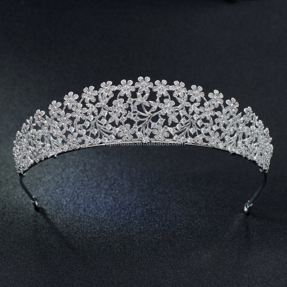 Cubic Zirconia Small Flowers Tiara Crown for Wedding Bridal Girl Hair Accessories S16438
