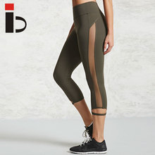 Custom design high quality sport leggings mesh side jogging capri pants