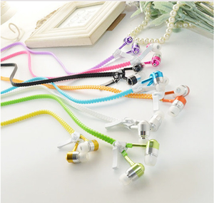 Hot Metal Zipper Earphone Fashion Headphones with 3.5mm Connector Microphone Stere for mobile,MP3 MP4+2 pair Ear cap
