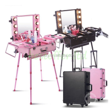 Aluminium alloy durable professional portable makeup case with lighted mirror for lady's beauty