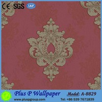 Pvc paper back commercial vinyl wallpaper
