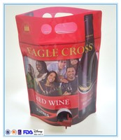 stand up plastic wine bag with spout tap