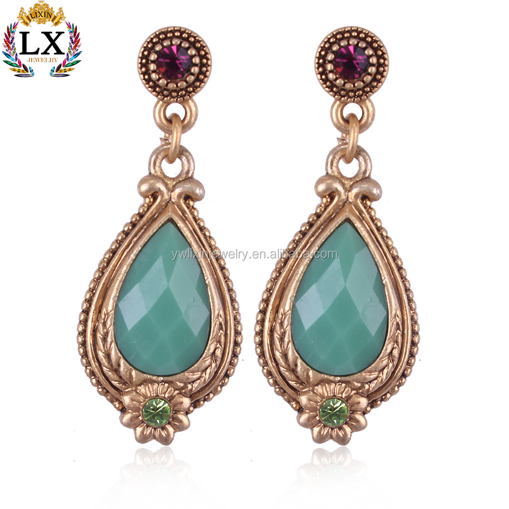 ELX-00301 traditional wedding gold jade artificial emerald indian earrings jhumka designs