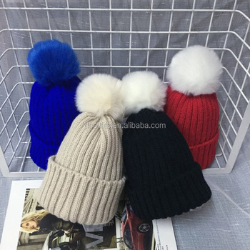 custom knitted pom beanies/ winter hats with pom on the top