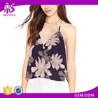 2016 guangzhou shandao summer new design fashion sleeveless floral printing latest tops for girls