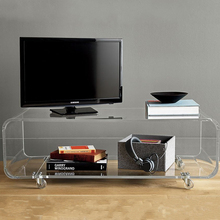 Clear acrylic TV stands with wheels / plexiglass movable console table / lucite coffee desk