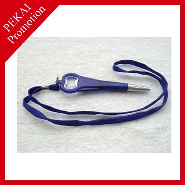 High Quality Advertising Promotional Plastic Hanger Ball Point Pen With Bottle Opener