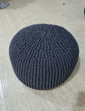 Beautiful,Fashion Wholesale Customized Size Hand Crochet Knitted Black Cushion Covers /Seat Cover/Pouf Ottoman