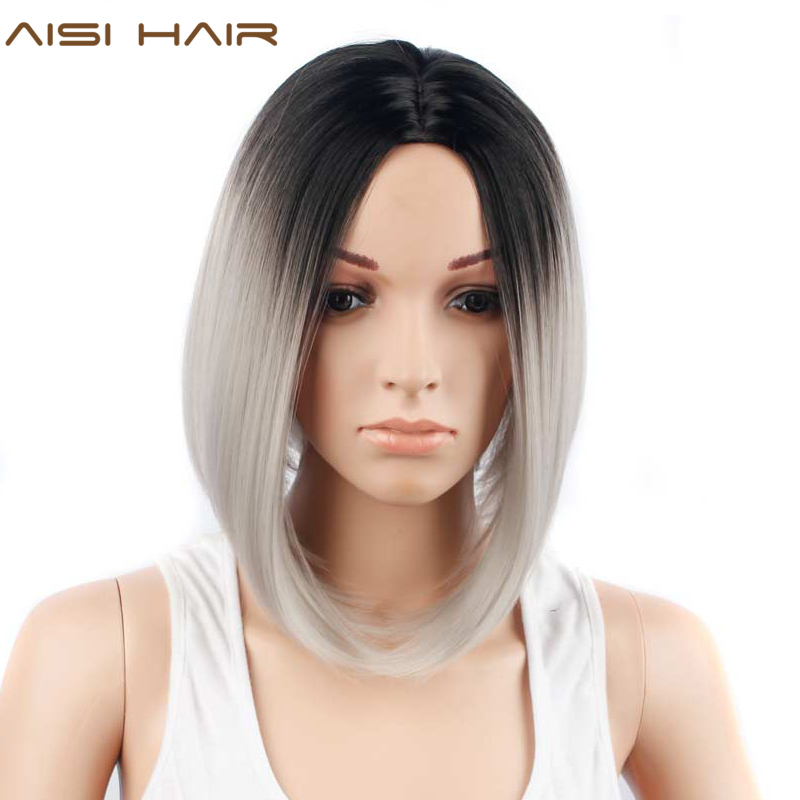 Aisi Hair Short Straight Ombre Grey Bob Wigs Synthetic Wigs For Black Women Afro Heat Resistant Fiber