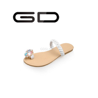 GD low price promotional flip flop slipper design printing slippers flat sandals rhinestones wholesale women slippers