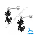 stainless steel ear tragus piercing anodized black sexy cat dangling