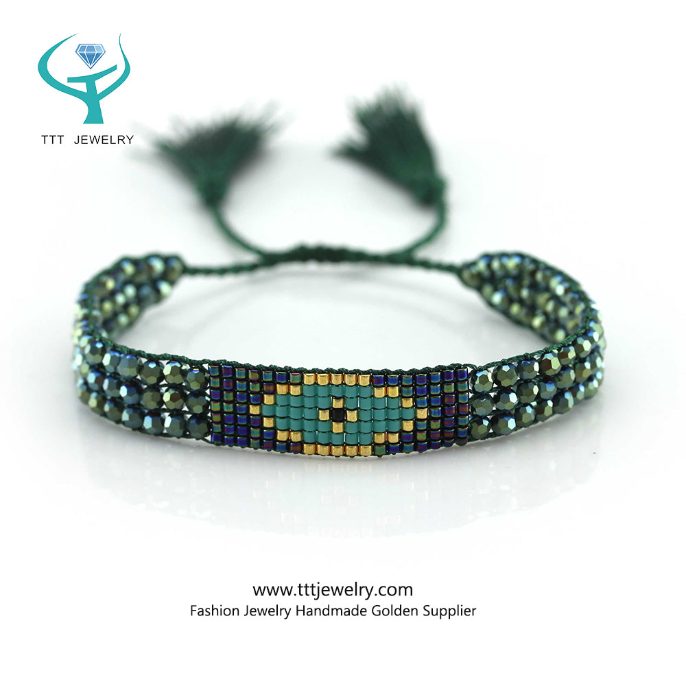 Clear Crystal Bracelet with Miyuki Beads Fashion Handmade Supplier