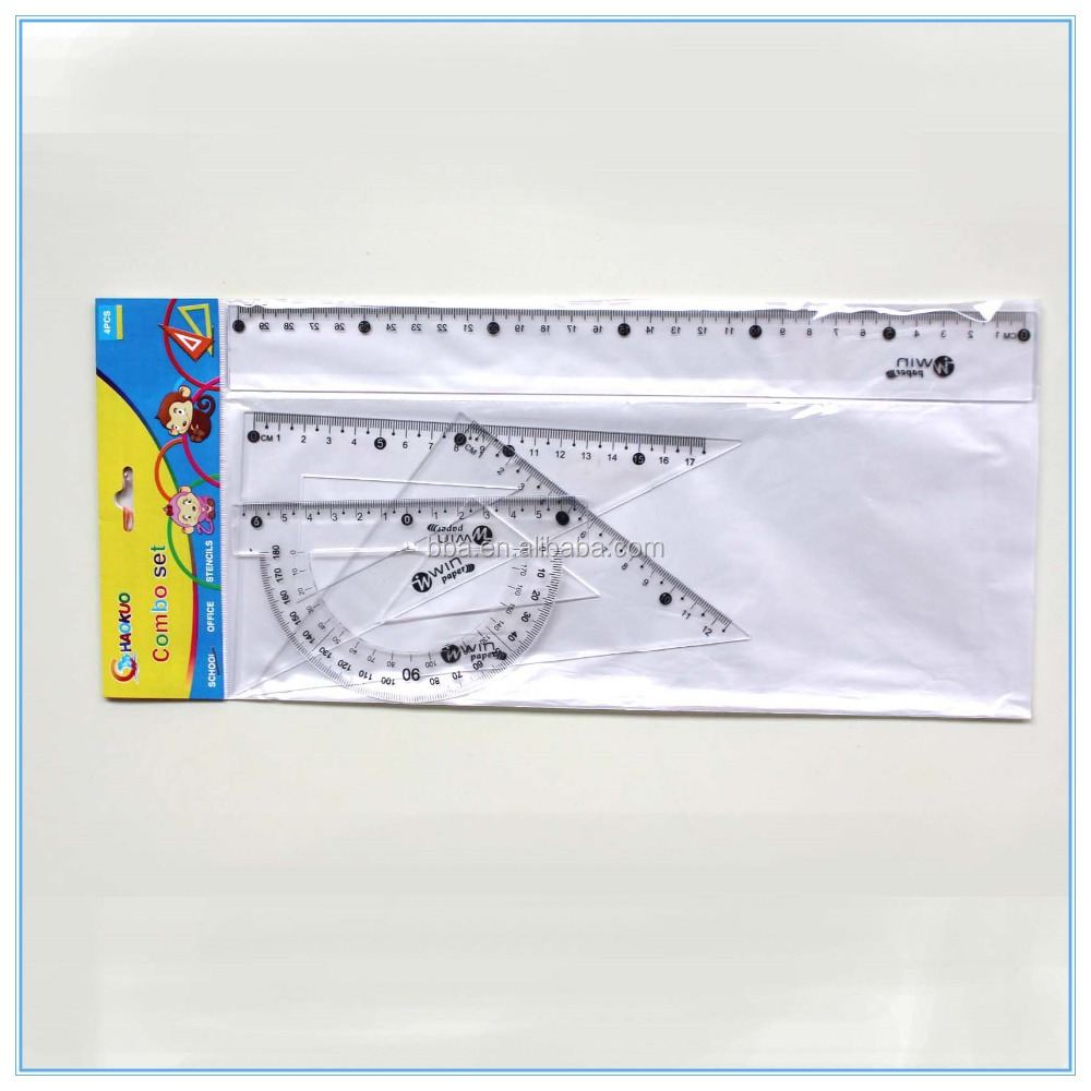 Cheapest manufactory plastic stationery measuring triangle protractor rulers sets for kids school multi-functional ruler set