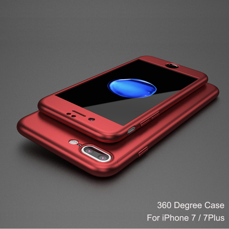 Wholesale 360 Degree Full Body Cover Protective PC Matte Phone Case For iPhone 7 360 case