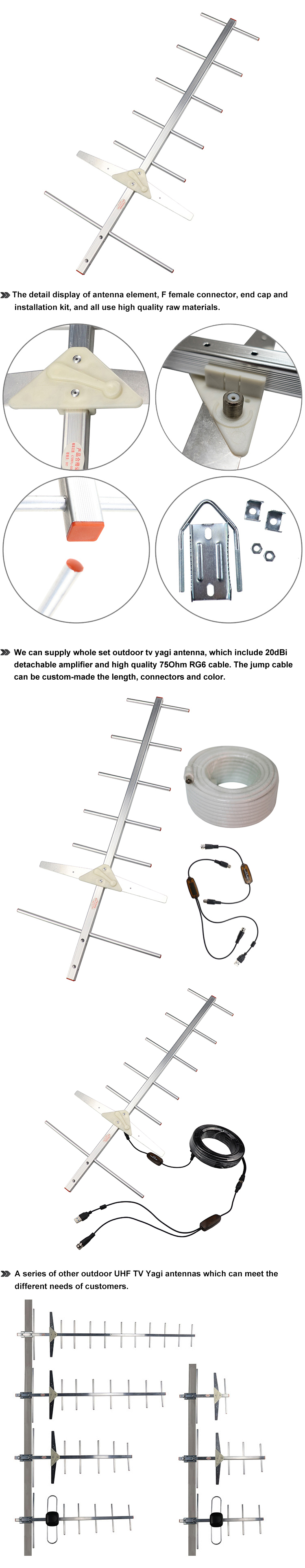 High Quality 7units 10units Cheap Waterproof 150 Mile Digital Outdoor Uhf Tv Antenna
