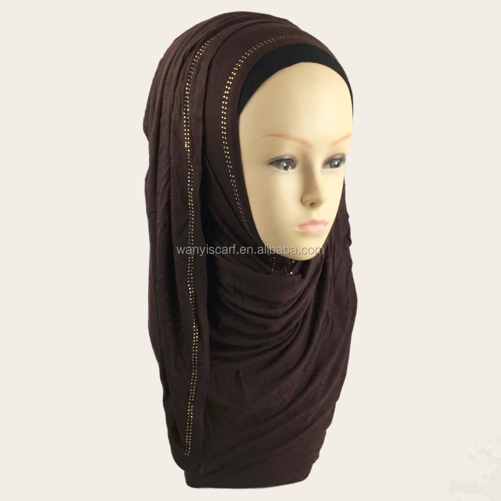 Original New Design Plain color hijab Modal Slip Lycra Women Jilbab Cotton Jersey material easy to wear Instant Shawl