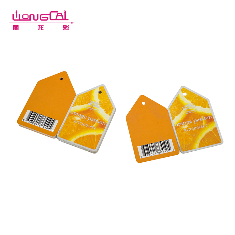 Recycled orange printing two side cardboard folded hang tag labels