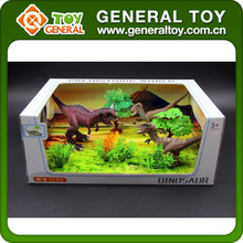 3PCS Kid Realistic Plastic Dinosaur Set Toys With Forest Scene
