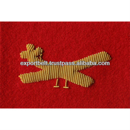 gold bullion wire helicopter badge patch, good quality flag hand embroidery badge for uniform, air plane patch