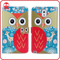 Manufacturer New Color Owl Printed Leather Wallet Cover for Samsung Galaxy Note 3 Cases