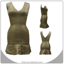 Gold foil high quality V neck cut out bandage dress wholesale