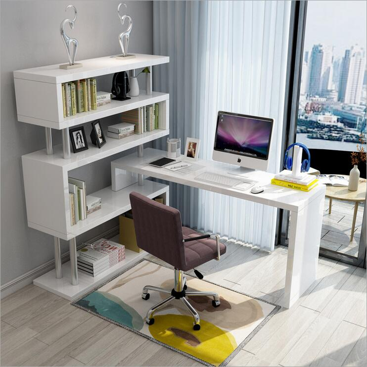 New design Extension 360 degree rotary computer desk study table for student office desk with shelf