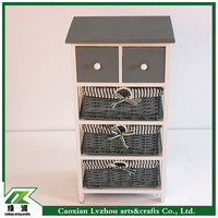 Wood storage cabinet with drawers & woven basket