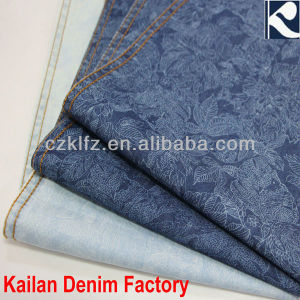 100% cotton flower print denim fabric