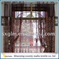2016 Hot selling flower hot stamping faux silk poly window curtain
