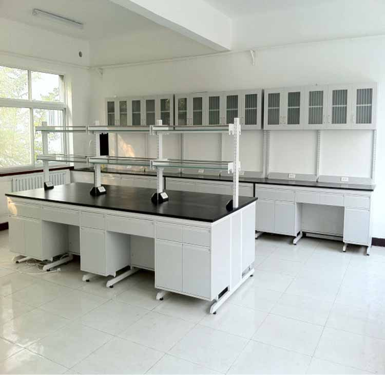 CE approved chemical resistant lab work table epoxy resin top lab bench with reagent shelf