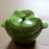 Apple Shaped Green Enamel Cast Iron Roaster, Cast Iron Casserole