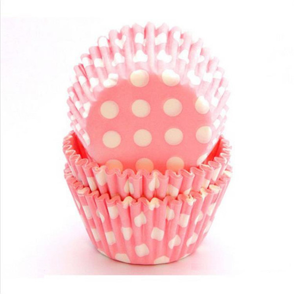 Dots on pink Cupcake liners for girls